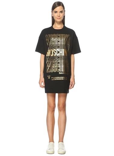 Logo Baskılı Mini Elbise-Moschino